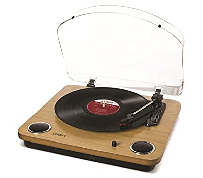 Ion Audio Max LP 3-Speed Belt Drive Wooden Turntable with Built-In Speakers, Natural Wood