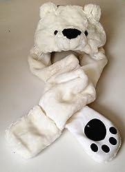Polar Bear Long Animal Faux Fur Head Trapper Hat Hood / Scarf / Snood / Gloves all in one Ladies / Men / Kids / Children