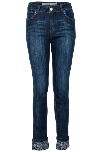 Womens Dark Blue Roll Up Detail Ladies Slim Skinny Fit Button Zip Jeans Size 8