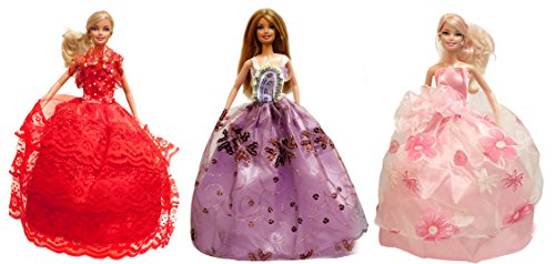 Barbie Princess Gown, Evening Dress, Wedding Gown (Barbie Gown 3 Dress Set) - Dolls NOT Included - 1