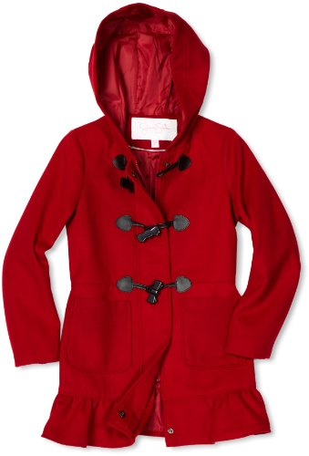Jessica Simpson Coats Girls 7-16 Hooded Toggle, Lipstick, Small