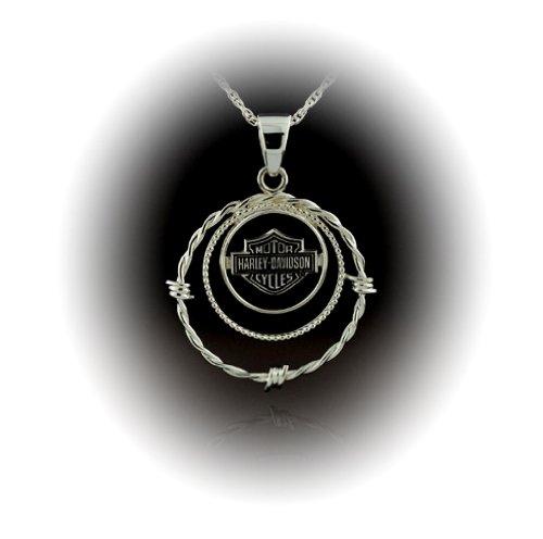 Harley-Davidson® Stamper® Women's Sterling Silver With Bar & Shield Logo Pendant. 35mm in Diameter. HN7460