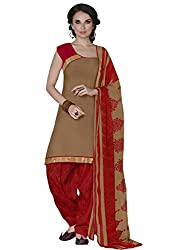 STYLE N DEAL Women's Mix Cotton Unstitchced Dress Material (207D304_Beige_Free Size )