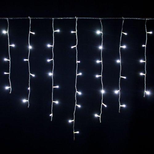 LED Eisregen 2,4 x 0,8 m, 96 LEDs kaltweiß, transparentes Kabel, innen und außen, Lichtervorhang, Eiszapfen, Weihnachten, Weihnachtsdekoration