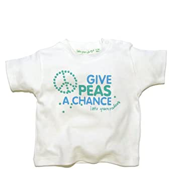 Little Green Radicals Baby Girl's organic Fairtrade cottonGive Peas a Chance T-shirt Kitten white 5-6 Years