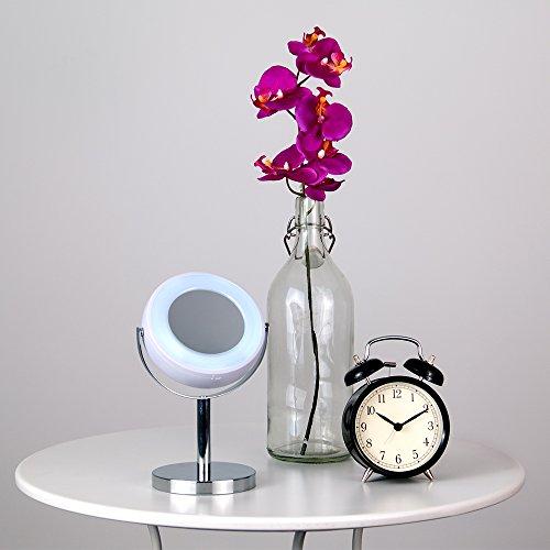espejo lupa ajustable luminoso con luz led minisun en cromo y rosa para bao maquillaje y afeitado a pilas