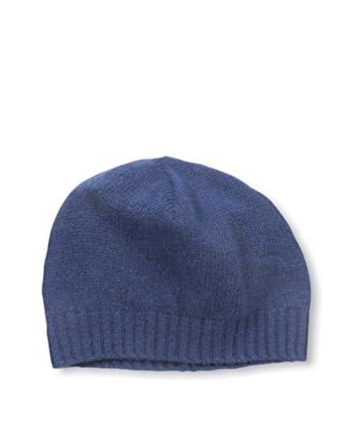 Portolano Men's Cashmere Hat Skull Cap with Ribbed Cuff, Indigo Blue