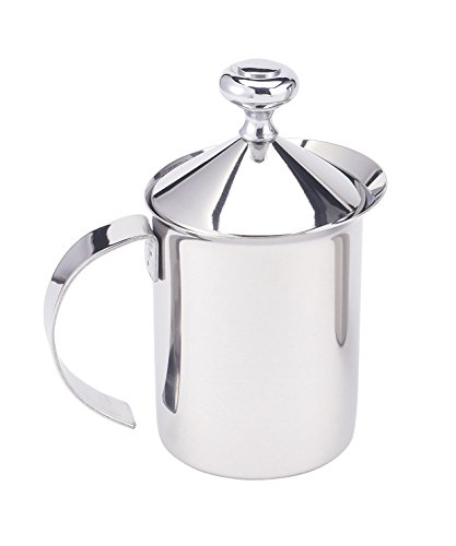HIC Milk Creamer Frother Cappuccino Coffee Foam Pitcher with Handle and Lid, Stainless Steel, 14-Ounce Capacity (Almond Milk Pitcher compare prices)