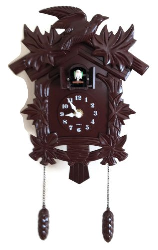 Black Forest Cuckoo Clock - Birdhouse Design Plastic Wood Color Antique Looking Black Forest Wall Clock with Modern Quartz Clock Movement and Cuckoo Bird Sings Hourly - Old World Design Hanging Cuckoo Bird Chime