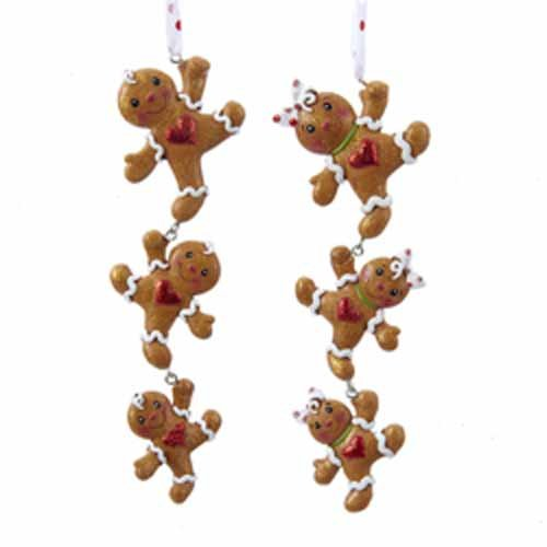 KURT ADLER 6″ GINGERBREAD BOY AND GIRL STRING DANGLING ORNAMENT – SET OF 2