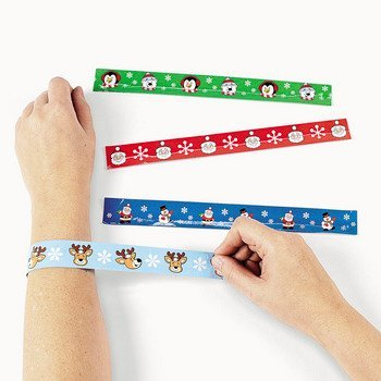 12 Christmas Character Slap Bracelets - 1
