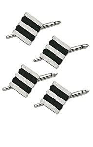14K White Gold and Onyx Striped Shirt Stud Set-86262