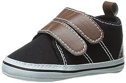 Luvable Friends Canvas Hook & Loop Boys Shoes (Infant), Black, 12-18 Months M US Infant