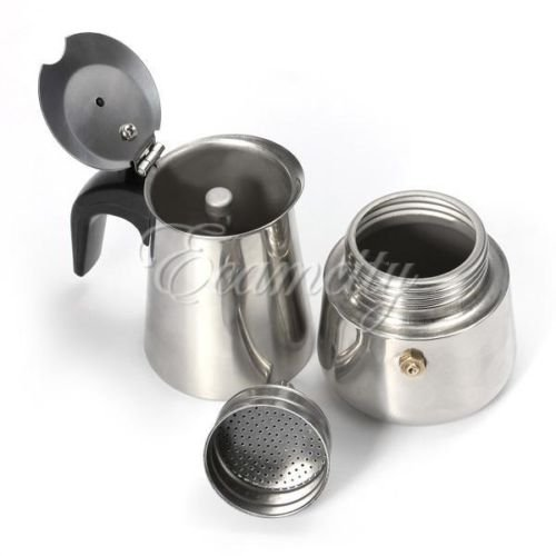 2-Cup Percolator Stove Top Coffee Maker Moka Espresso Latte Stainless Steel Pot