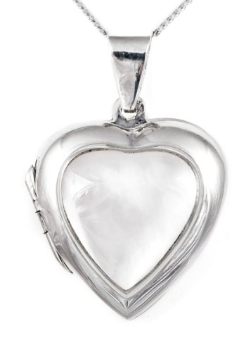 Mother of Pearl Heart Locket Necklace, Silver