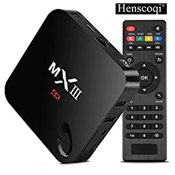 Henscoqi MXIII MX3 Quad Core Amlogic S802 2G/8G Smart HTPC TV Box Support 3D-HD 4K Android 4.4.2 Miracast DLNA Airplay and 2.4/5GHz Dual Wifi Bluetooth 4.0 Update Online (Black)