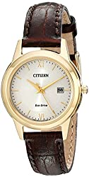 Citizen Women's FE1082-05A Stainless Steel Watch with Brown Band
