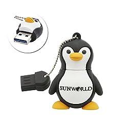 SUNWORLD Happy Antarctica Penguin Bird keychain Animal Collection 16GB 32gb 64gb USB Flash Drive - in Gift box (Penguin) (32gb)