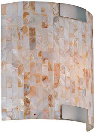 Lite Source LS-16381 Schale Wall Sconce Lite, White with Shell Shade