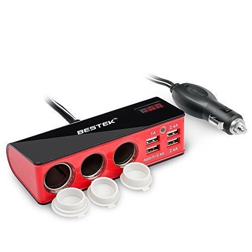 BESTEK 3-Socket 12V/24V DC Cigarette Lighter Power Adapter with 5.2A 4-Port Car USB Splitter Charger (Cigarette Plug Usb compare prices)