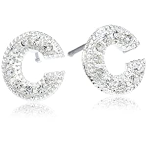Silver Initial C Earrings