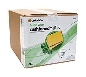 "OfficeMax Bubble Wrap Cushioned Mailers, Size #2, 8.5"" x 12"" 25/pk."