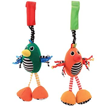 Sassy 2 count stroller toy includes 2 chime birds that inspire hearing and vision with their different textures and fabrics. They chime for baby's enjoyment, and easily attach to car seat, stroller or carrier, so they are great for on-the-go fun chim...
