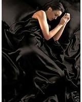 Parure de Lit Satin Noire 6 pcs Housse de Couette 200x200 Drap Housse Taies