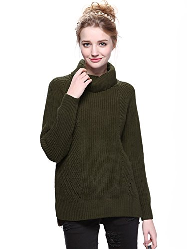 Clothink Women Army Green Roll Neck Split Side Rib Knitted Pullover Jumper Sweater Tops XL
