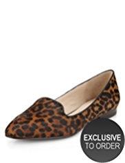 Autograph Suede Almond Toe Animal Print Pumps