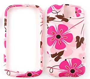 HTC Slide 3G Pink Flowers with Brown Ducks Snap On Cover, Hard Plastic Case, Face cover, Protector
