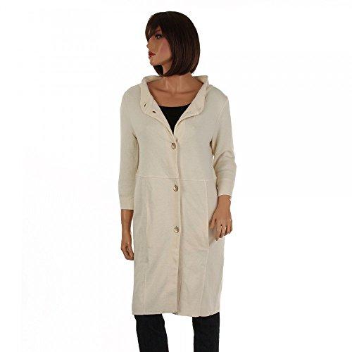 Elfenhaut Damen langer Strickmantel creme mit 3/4 armen, Farbe:Beige;Größe:S