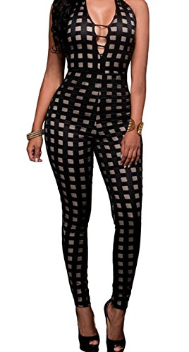 christmas-peggynco-womens-black-nude-illusion-checkered-jumpsuit-size-m