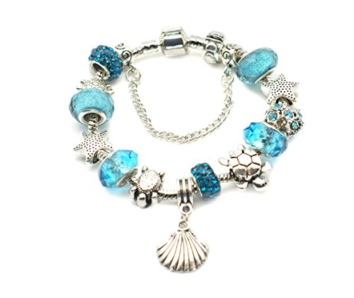 European Ocean Beach 925 Silver Plated Charm Beaded Bracelet 8.5 Inch for Women and Teen Girls Seashell and Starfish Charms Prime Quality Gift (Gold Charm Brackets compare prices)