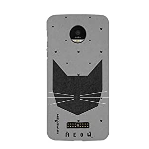 iSweven MOTOZF_1114 Printed high Quality Meow Design Back case cover for Motorola Moto Z Force