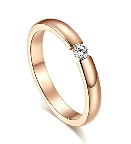 Aooaz Stainless Steel Ring Charm Elegant Style Rose Gold Middle Circle CZ Crystal Wedding Band Women's Ring Size 10 (Star Spin Quilt compare prices)