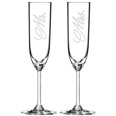 Riedel Crystal Champagne Flutes Set of 2 - Etched with Mr and Mrs