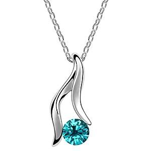 MADE avec Austrian SWAROVSKI ELEMENTS 18K blanc cristal plaqué or étoiles forme de maintien bleu collier pendentif bijoux de mode , cadeau d'anniversaire parfait Valentines de Noël Cadeau Fête des Mères pour elle