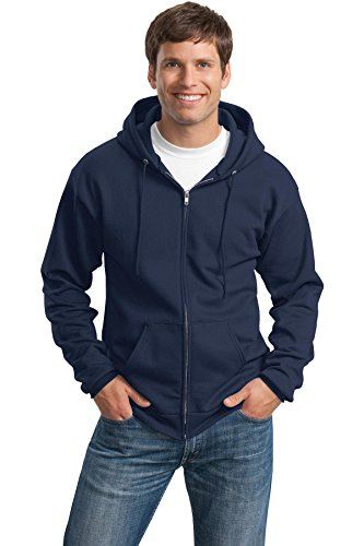 Port & Company Men's Classic Full Zip Hooded Sweatshirt L Navy
