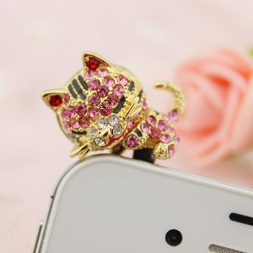 Earphone Jack Accessory 1Pcs Of Pink Sleeping Cat Crystal Pearls / Dust Plug / Ear Jack For For Iphone 4 4S / Samsung / Ipad / Ipod Touch / Other 3.5Mm Ear Jack