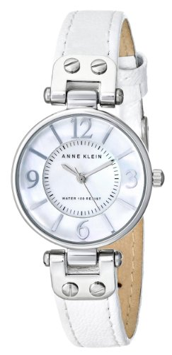 Anne Klein Women's Quartz Watch with Mother of Pearl Dial Analogue Display and White Leather Strap 10/9889MPWT