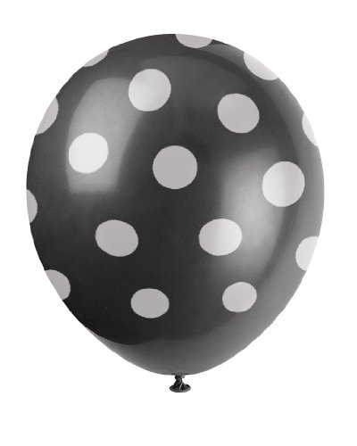 "12"" Latex Black Polka Dot Balloons, 6ct"