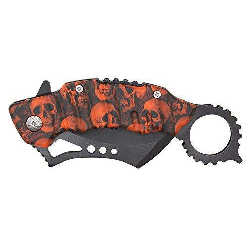 """SAS 4.5"""" Orange/Black Zombie Killer Spring Assisted Pocket Knife"""
