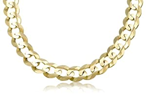 14K Solid Yellow Gold Cuban Curb Link Bracelet 13mm Wide 7