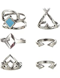 Habors Silver 6 Pieces Midi Ring Set For Women (JFRD3006)
