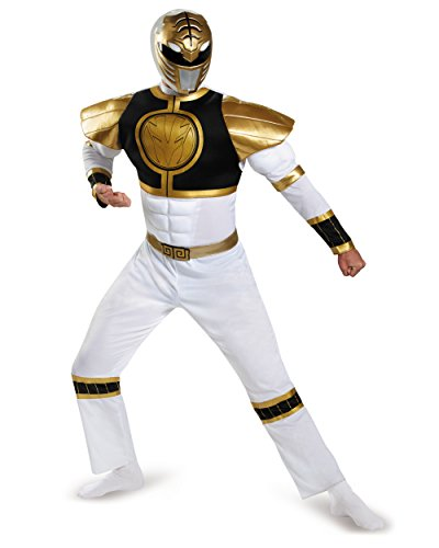 Disguise Power Ranger Adult White Ranger Classic Muscle Costume 82847
