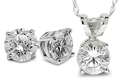 Diamond Studs Forever - 1.00 Ctw Solitaire Diamond Earrings and Pendant Set with Chain GH/SI2-I1 14K WGold