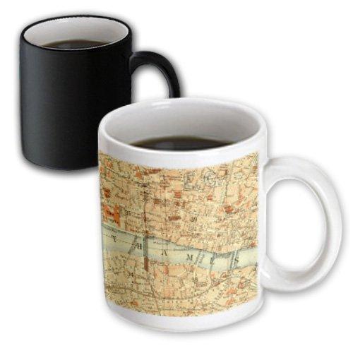 Mug_112939_3 Inspirationzstore Vintage Maps - Vintage Map Of London Uk Section With Thames River - Retro Cream Brown Orange - Geography Travel - Mugs - 11Oz Magic Transforming Mug