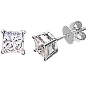 Ariel Platinum Stud Earrings, J/SI Certified Diamonds, Princess Cut, 1ct