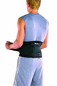 "Mueller Adjustable Back / Lumbar Brace, 9"" high, OSFM - fits waist size 28-50"" Stretched - Black"